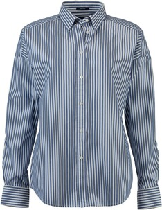 GANT Oversized Tech Prep gestreifte Broadcloth Bluse college blue
