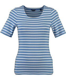 GANT STRIPED 1x1 RIB  T-Shirt Pacific blue