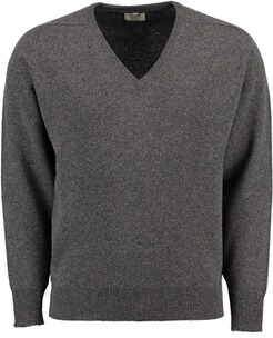 WILLIAM LOCKIE Lambswool V-Ausschnitt Pullover grau