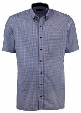 ETERNA 1/2-Arm Karo Hemd dunkelblau Comfort Fit Button-Down-Kragen