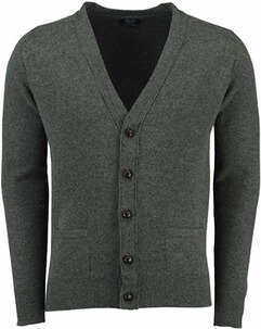 WILLIAM LOCKIE Lambswool Strickjacke oliv