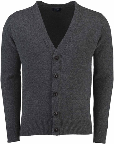WILLIAM LOCKIE Lambswool Strickjacke anthrazit