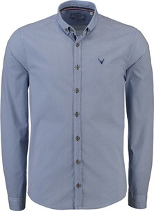 PURE Trachtenhemd Button-Down-Kragen blau