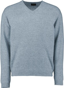WILLIAM LOCKIE V-Ausschnitt Pullover blau