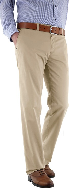 EUREX BY BRAX Baumwoll-Stretch-Hose beige in Chino-Form Tiefbund