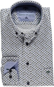 FYNCH HATTON Muster-Hemd Button Down gruen