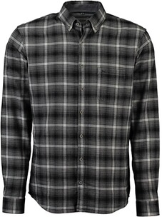 BRAX Karo-Flanell-Hemd Button-Down Modern Fit schwarz
