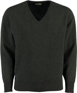 WILLIAM LOCKIE Lambswool V-Ausschnitt Pullover gruen
