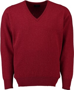 WILLIAM LOCKIE Lambswool V-Ausschnitt Pullover rot