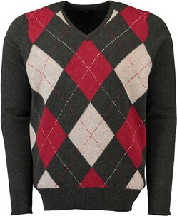WILLIAM LOCKIE Lambswool Rauten-Pullover gruen