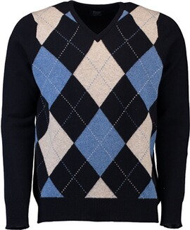 WILLIAM LOCKIE Lambswool Rauten-Pullover marine