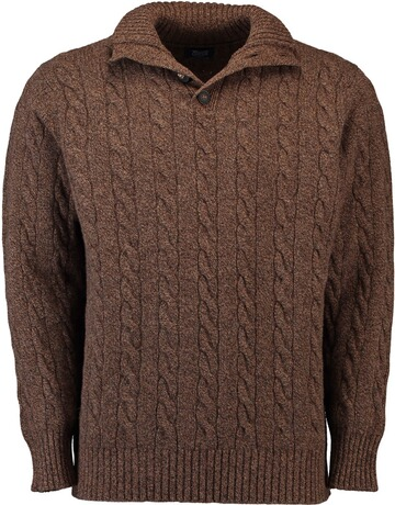 WILLIAM LOCKIE Lambswool Troyer Zopfstrickmuster braun