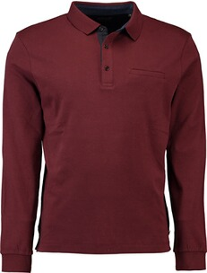 Herren Polo Shirt PIERRE CARDIN Polo-Shirt langarm mit Brusttasche bordeaux