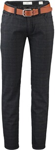 Brax Stretch-Five-Pocket-Hose Cadiz in Woll-Optik kariert marine