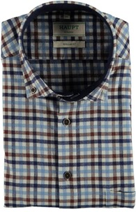 HAUPT Flanellhemd Button Down Modern Fit blau kariert