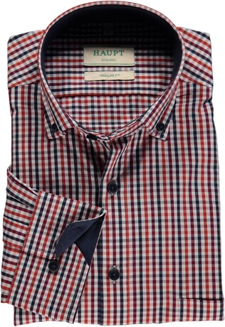 HAUPT Karo-Hemd Button Down Modern Fit rot