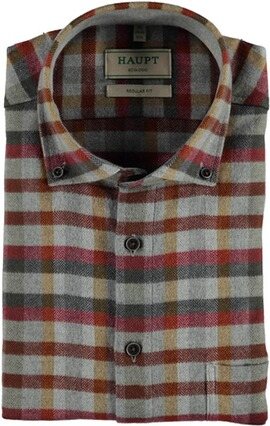 HAUPT Flanell Hemd Button Down Modern Fit rot kariert