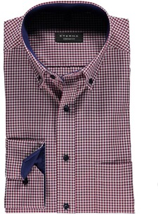 ETERNA Karo Hemd Comfort Fit Button-Down rot