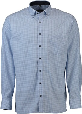 ETERNA Karo Hemd  Comfort Fit Button-Down hellblau