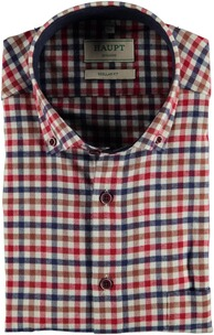 HAUPT Flanellhemd Button Down Modern Fit rot kariert