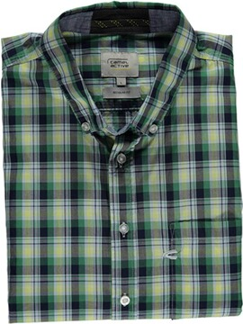 camel 1/2-Arm-Hemd Regular Fit grün Button-Down-Kragen