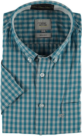 camel 1/2-Arm-Hemd Regular Fit türkis Button-Down-Kragen
