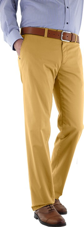 EUREX BY BRAX Baumwoll-Stretch-Hose gelb in Chino-Form Tiefbund
