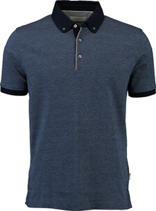 Herren Polo Shirt BUGATTI Polo-Shirt blau mit Button-Down-Kragen