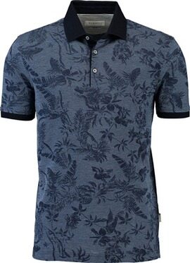 BUGATTI Polo-Shirt marine gemustert mit Button-Down-Kragen