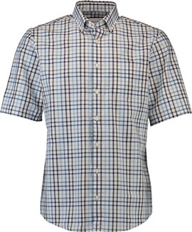 HAUPT Karo-Hemd blau Comfort Fit Button-Down-Kragen
