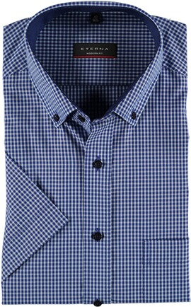 ETERNA 1/2-Arm Karo Hemd blau Comfort Fit Button-Down-Kragen