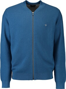 FYNCH HATTON Strickjacke hellblau mit Collegekragen