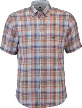 FYNCH HATTON Leinen-Hemd 1/2 Arm orange kariert Button-Down-Kragen