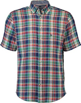 FYNCH HATTON Leinen-Hemd 1/2 Arm grün kariert Button-Down-Kragen