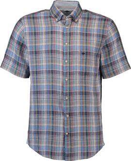FYNCH HATTON Leinen-Hemd 1/2 Arm blau kariert Button-Down-Kragen