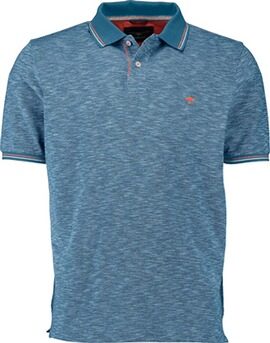 FYNCH HATTON Polo-Shirt blau und kontrastfarbigem Kragen