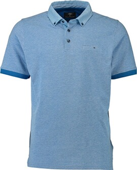 FYNCH HATTON Polo-Shirt hellblau Button-Down-Kragen