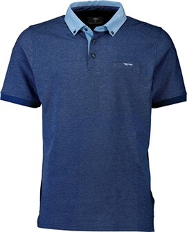 FYNCH HATTON Polo-Shirt marine Button-Down-Kragen