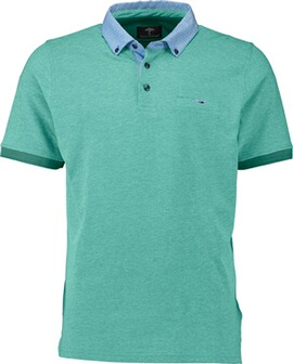 FYNCH HATTON Polo-Shirt grün Button-Down-Kragen