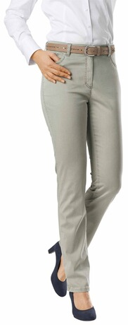RAPHAELA BY BRAX Ina Baumwollsatin-Hose khaki Five Pocket Super Slim