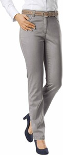 RAPHAELA BY BRAX Ina Baumwollsatin-Hose taupe Five Pocket Super Slim