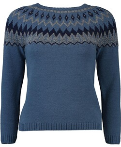 h.moser Norwegermuster Pullover blau