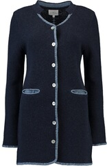 h.moser Long Strickjacke Linkstrick marine