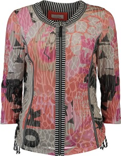 JUST WHITE Strickjacke mit modischem Printmuster beige