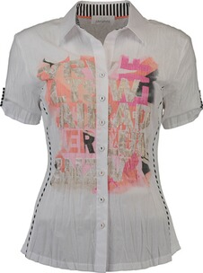 JUST WHITE Bluse im Materialmix weiss