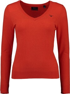 Gant Extrafine Lambswool V-Neck Pullover atomic orange