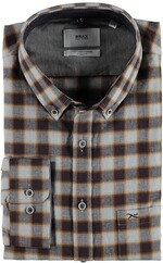 BRAX Flanell-Hemd Dries Butto-Down Modern Fit braun