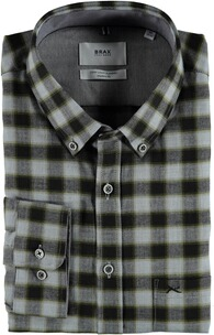 BRAX Flanell-Hemd Dries Butto-Down Modern Fit oliv