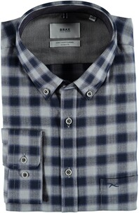 BRAX Flanell-Hemd Dries Butto-Down Modern Fit blau