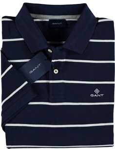 Herren Polo Shirt GANT Polo-Shirt Breton Stripe Pique SS Rugger evening blue